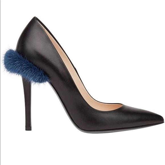 Fendi Blue Fur Trim Black Pumps Size
